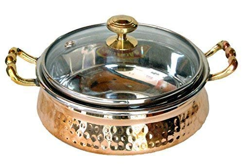Billion Deals-100% pure Beautiful Steel Copper Casserole Dish Serving Royal Handi Stylish glass Lid -7 Inch Indian Dinning Experience, Gift, Valentine gift, Free Metal cleaning powder