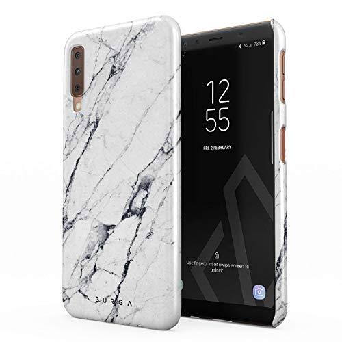 BURGA Hülle Kompatibel mit Samsung Galaxy A7 2018 Handy Huelle Licht Weiß Marmor Muster White Marble Mädchen Dünn, Robuste Rückschale aus Kunststoff Handyhülle Schutz Case Cover
