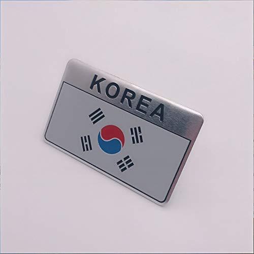 HHF - Adesivi per auto, 10 pezzi, con bandiera nazionale, sottile in alluminio, con stemma cromato, per auto universali (colore quadrato)