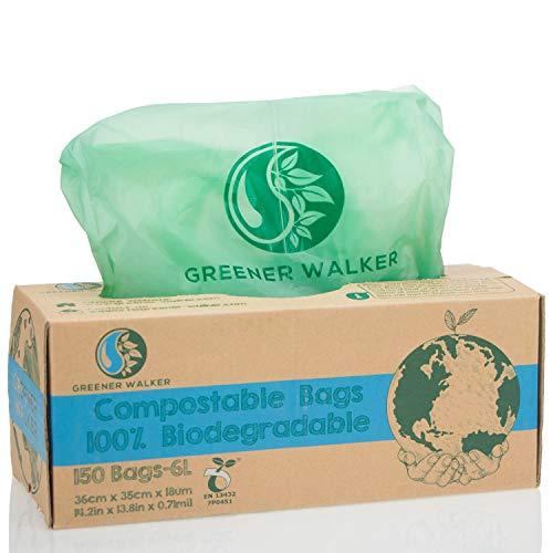 Greener Walker 100{a4807d13d1a64253f5590faf337299993fe810b96b98c5fd9dea9b283d74b3bb} Kompostierbare biologisch abbaubar 6L Müllbeutel-150 Müllsäcke