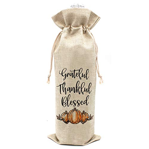 Thank You Wine Bags - Thanksgiving Day gifts Thanksgiving party gifts - Cotton burlap drawstring Wine Bags