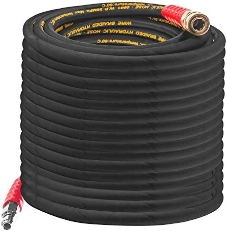 Hourleey 50FT Pressure Washer Hose with 3 8 Inch Quick Connect High Tensile Wire Braided Power product image