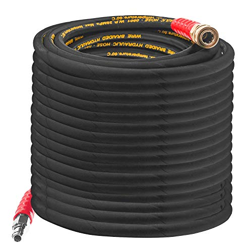 Hourleey 50FT Pressure Washer Hose with 3/8 Inch Quick Connect, High Tensile Wire Power Washer Hose, 4000 PSI