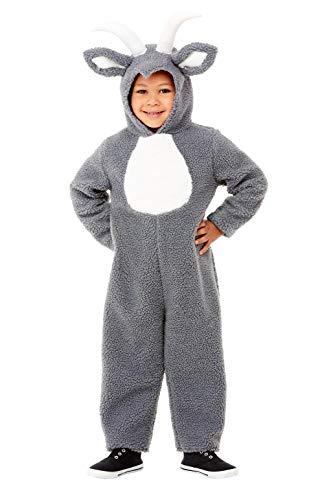 Smiffys 71041T2 - Disfraz infantil de cabra, unisex, color gris, de 3 a 4 años