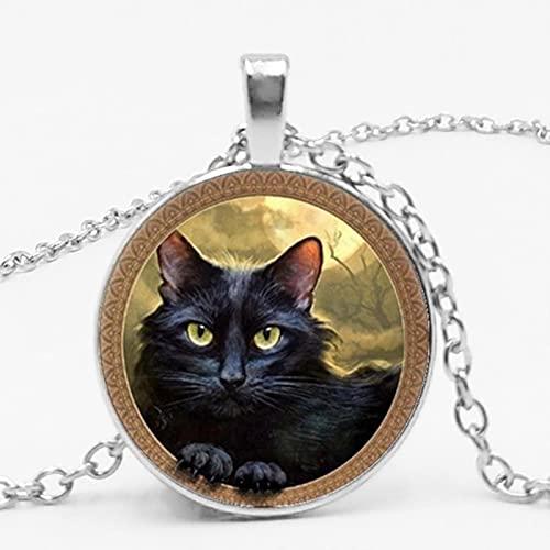 KDFJ - Collana con ciondolo a catena lunga in vetro con ciondolo a forma di gatto e fiaba, colore: Nero