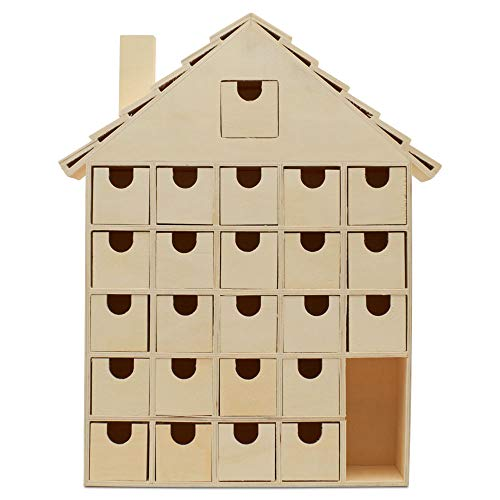 Woodpeckers Wooden Advent Calendar Empty DIY-Pre Assembled Empty Drawers Refillable Unfinished 14 Inch by 12 Inch