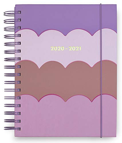 Kate Spade New York Large 2020-2021 Planner Weekly & Monthly, 17 Month Hardcover Planner Dated Aug 2020 - Dec 2021 with Stickers, Pocket, Tab Dividers, Notes/Holiday Pages, Scallop (Pink/Purple)