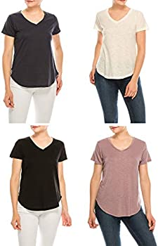 4-Pack Urban Diction Women's Comfort Solid V Neck Short Sleeve Tee