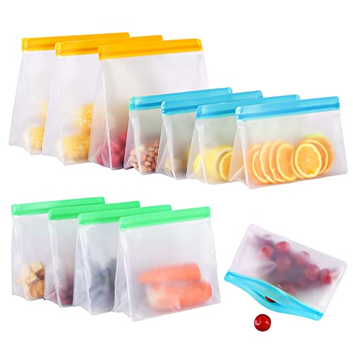 12 Pack Reusable Food Storage Bags Stand Up, FDA Grade Silicone Leakproof Reusable Freezer Bags, 3 Reusable Gallon Bags + 4 Reusable Sandwich Bags + 5 Reusable Lunch Bags for Meat Fruit Cereal Snacks