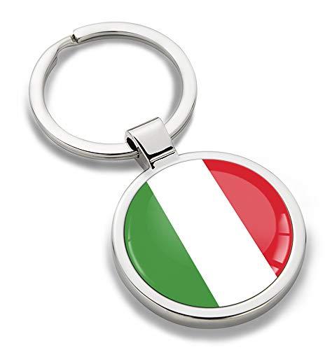 Skino sleutelhanger metaal sleutelring autosleutel geschenk metalen sleutelhanger sleutelhanger roestvrij staal Italië Italiaanse vlag KK 187