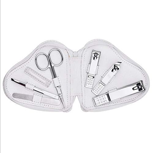 Zanzan - Kit de cortaúñas para mujer, conjunto de 6 piezas, incluye funda de lujo de viaje profesional, kit blanco, 4,7 x 4,3 x 0,9 in