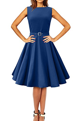 "BlackButterfly Abito Vintage Anni '50""Audrey Clarity (Blu Reale, XS)"
