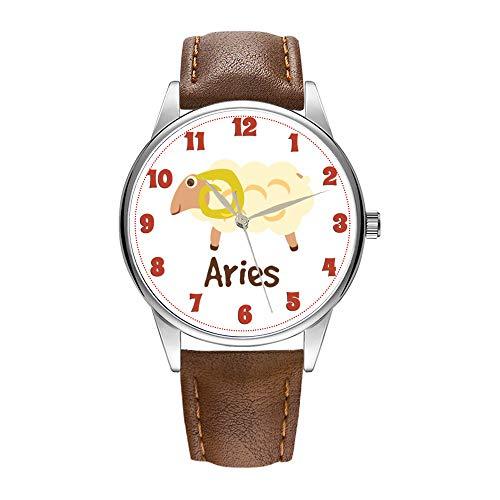 Reloj de hombre de cuarzo marrón Cortex para hombre, famoso reloj de pulsera de cuarzo para regalo de negocios Aries Cute Ram Symbol 2 Reloj de pulsera
