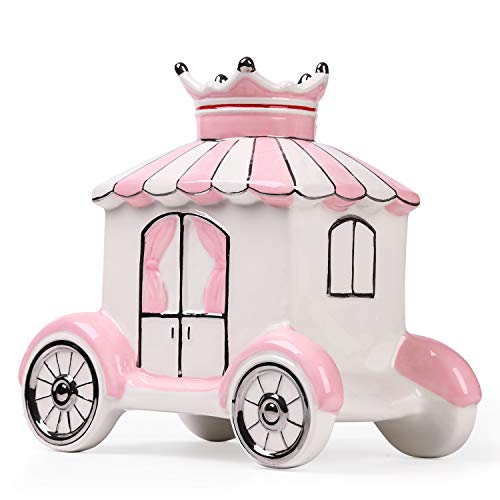 FORLONG Ceramic Piggy Bank for Girls,Princess Crown Carriage Coin Bank Money Box Baby Nursery Decor,Gift for Kids