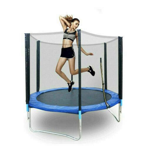 Cama elástica de jardín, 1,9 m, cama elástica para niños, 300 kg, juego completo con esterilla de salto y red de seguridad cerrada, regalo de Navidad