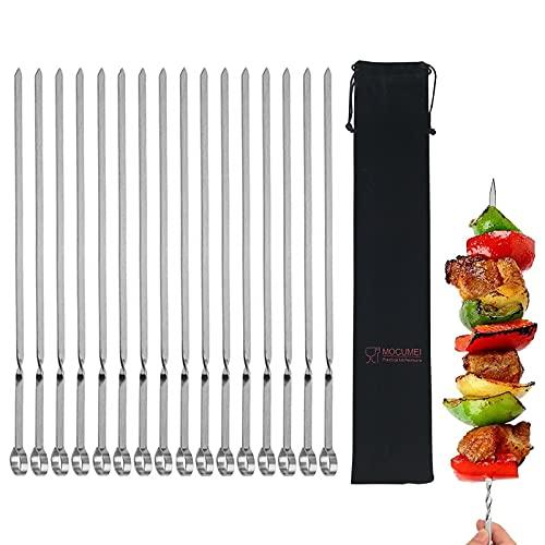 MOCUMEI Metal Skewers for Grilling,Kabob Skewers,Flat BBQ Barbecue Skewer,Grilling Skewers Set,Reusable BBQ Sticks(14' skewers(16 Pack))