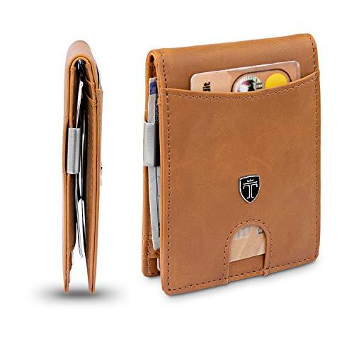 "TRAVANDO Money Clip Wallet""RIO"" - Mens Wallets slim Front Pocket RFID Blocking Card Holder Minimalist Mini Bifold Gift Box (Vintage Leather, Cognac Brown)"