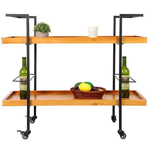 Carrito de barra rodante de madera, carrito de servicio de dos niveles Carrito de tocador rodante de estilo industrial para bares, fiestas en casa