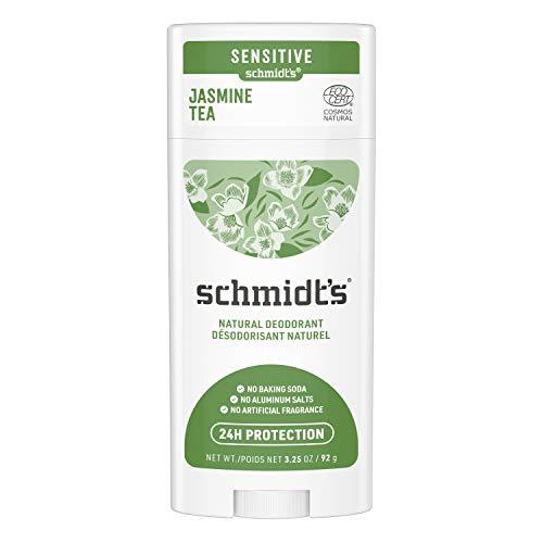 Schmidt's Baking Soda-Free Sensitive Skin Natural Deodorant for Women and Men, Jasmine Tea with 24 Hour Odor Protection, Aluminum Free, Vegan, Cruelty Free, 3.25 oz