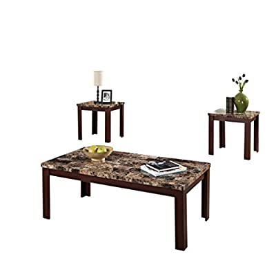 ACME Furniture 80319 3 Piece Finely Coffee/End Table Set, Light Brown Faux Marble & Cherry