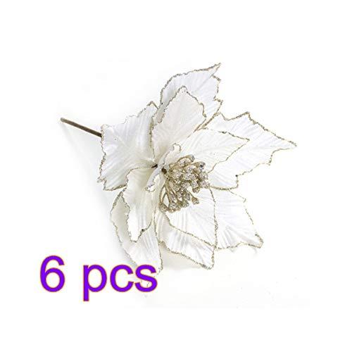 6 piezas de flores artificiales de Navidad, flor de Pascua de seda con purpurina, adornos de árbol de Navidad,...