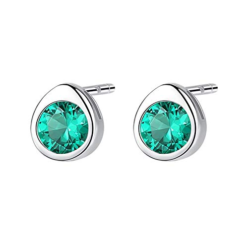 Adokiss Jewellery Earrings 925 Women's Earrings Wedding Round Shape Cubic Zirconia Anniversary Gift for Her Birthday Gift for Best Friend Green