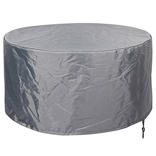FUSHOU-Round Patio Table Covers Waterproof Heavy Duty Garden Furniture Cover Breathable Oxford Cloth Outdoor Windproof Anti-UV Furniture Set Easy to Install,Gray,250x100cm