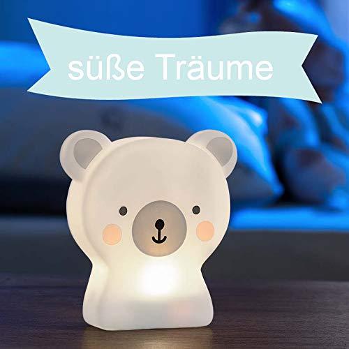 LED Nachtlicht für Kinder, Tierfigur Eisbär, Kinder Lampe mit Timer, mit Batterie