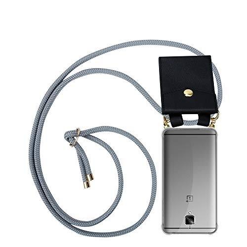 Cadorabo Handy Kette für OnePlus 3 / 3T in Silber GRAU - Silikon Necklace Umhänge Hülle mit Gold Ringen, Kordel Band Schnur und abnehmbarem Etui – Schutzhülle