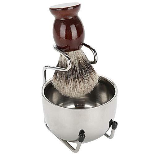SNOWINSPRING Hommes Bruns Barbe Rasage Ensemble Bol Professionnel Stand Brosse Moustache Outil de Rasage
