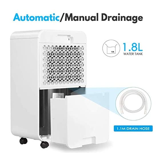 WQSFD 30Pint Dehumidifiers 4 Gallons/Day Intelligent Humidity Control for Space Up to 1000 Sq Ft for Home Basements… 8 30 Pints Dehumidifier: With removal capacity of up to 30 pints of water per day (under 90% RH @ 95°F condition), this energy-efficient dehumidifier is ideal to dehumidify damp rooms up to 1056 sq ft, like attics, basements, bathrooms, laundry room, garages, and even campers or RV. Easy-to-use Dehumidifier: With a built-in humidistat, this smart dehumidifier will AUTO-STOP when set humidity level has been met and AUTO-RESTART when room humidity goes up again. The switchable fan speed add flexibility and the programmable 24H ON/OFF improves energy savings. User-friendly Drainage Options: This small dehumidifier will auto shut off when the 4-Pint (0.5 Gal.) water reservoir is full and audibly alert you to empty it. Too busy to empty it manually? This dehumidifier with drain hose (6.56-ft) allows you to simply attach the hose to achieve self-draining by gravity.