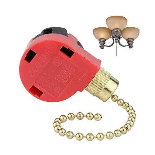 Ceiling Fan Switch, 3 Speed 4 Wire Zing Ear ZE-268S1 Pull Chain Control Switch Replacement Speed Control Switch Compatible with Hunter Ceiling Fans, Wall Lamps, Cabinet Light (Brass Pull Chain)