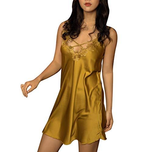 QHJ Schlafanzug Damen, Schlafanzug Damen Sexy Silk Fashion Sling Nachtwäsche Dessous Lace Unterwäsche Satin Lace Sling Pyjamas (Gelb, XL)