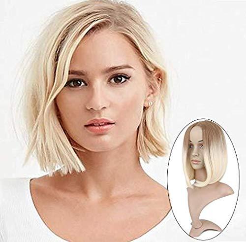 Queentas Ombre Perücke kurze Bob gerade synthetische Haar Perücke mit Perücke Kappe für Frauen Mädchen (Ombre braun bis blond)