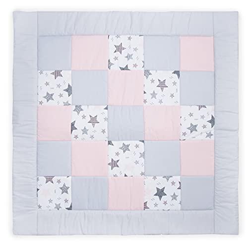 Amilian Manta para gatear para bebé, de patchwork, como regalo, manta para parque de juegos, manta de juego, manta para niños, de algodón, equipamiento básico, de patchwork, M103, 125 x 125 cm