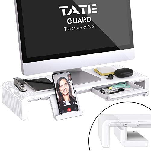 Faltbarer Monitorständer Riser TATEGUARD Computer Monitorständer mit Verstellbarer Breite kompatibel mit iM'ac Drucker Laptop mit Aufbewahrungsschublade Tablet & Handyständer Halter Weiß