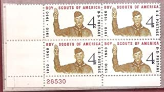 USA 1960 Boy Scouts of America Plate Block of 4 Postage Stamps, Catalog No 1145