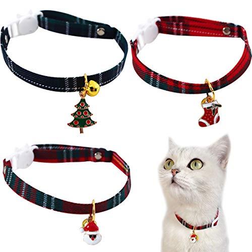YUESEN Collares Gato Navidad Collar Seguridad Gatos Collares Navidad para Perro con Duradero Ajustable y Cómodo para Perros Pequeños y Gatos 3pcs