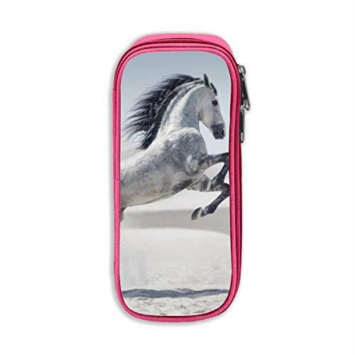 Pentium Horse White Pony - Astuccio in tessuto Oxford unisex, per ufficio, scuola, con cerniera Misura unica rosa