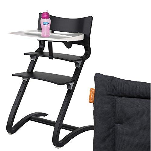 Leander hoge stoel zwart compleet pakket met veiligheidsbeugel, tafel, bornfree tink beker en zitkussen antraciet