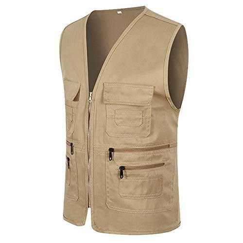UJUNAOR Männer Ärmellose Cargo Jacke Multi-Pocket-Jackenmantel für Herren(Khaki,CN 3XL)