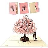 TSHAOUN Biglietto di Auguri Pop Up 3D, Biglietto di Compleanno Romantico per Moglie, Marito, Fidanzata, Biglietti per Matrimonio, Natale, San Valentino, Festa Della Mamma (Cherry Blossom)