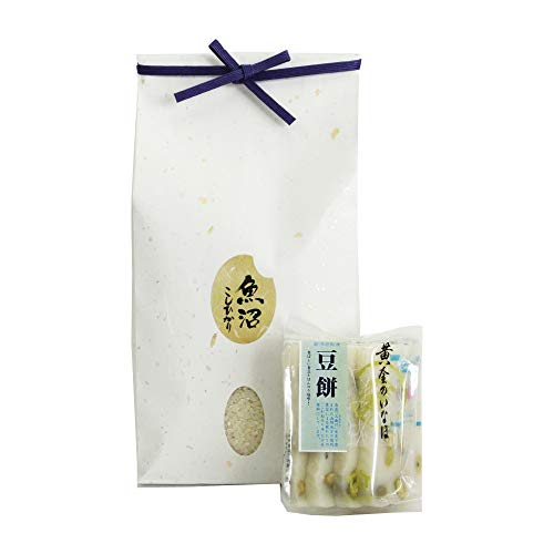 【御歳暮 餅とお米のセット】魚沼産コシヒカリ 無洗米 [2キロ] 杵つき餅 まめ餅 [8枚]