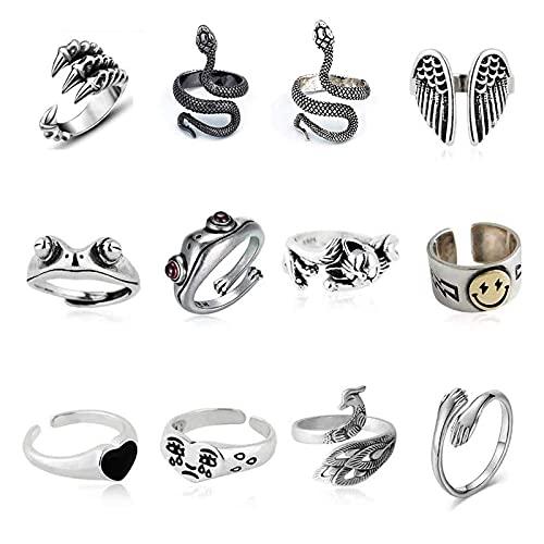 ADICOM 12 Stück Vintage Punk Rings Set, Cute Animal Open Ring Pack, versilberte gotische stapelbare Ringe für Frauen Männer Mädchen, Hippie Frosch Schlange umarmen Katze Lucky Face...