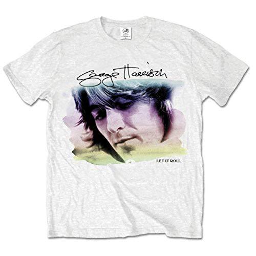 George Harrison Water Colour Portrait T-Shirt, Blanc-Blanc, Large Homme