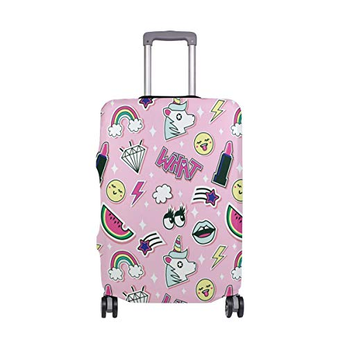ALINLO Pink Girl Unicorn Lipsticks Rainbow Pattern Luggage Cover Baggage Suitcase Travel Protector Fit for 18-32 Inch