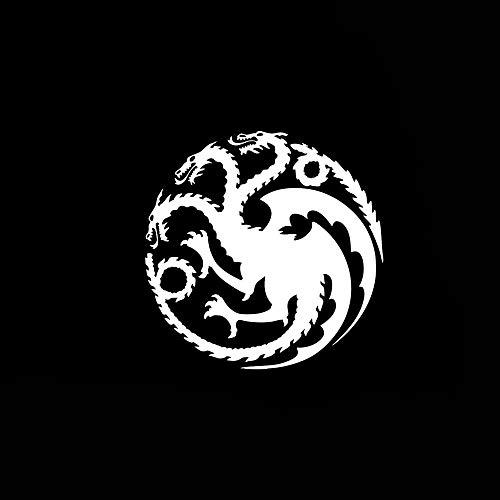 zhehao Car Sticker Car Decal Daenerys Targaryen Symbol Bumper Sticker Logo Bumper Decal Window Sticker Dragon Sigil Logo (6x6 inches, White)
