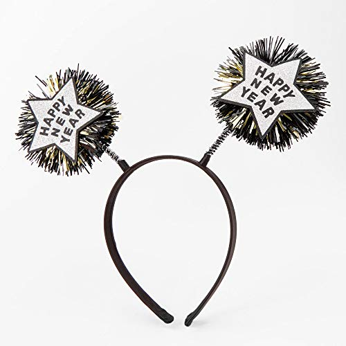 Claire's Happy New Year Deely Bopper Headband for Girls, Black with Silver and Gold, Thin Band, One Size, Pack of 6