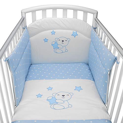 Babysanity® Caldo Piumino Lettino Neonato Ricamato Completo di Paracolpi Lettino, Federa e Copripiumino Sfoderabile Per l'uso Estivo. 100% Cotone -Made in Italy- (Little star azzurro)