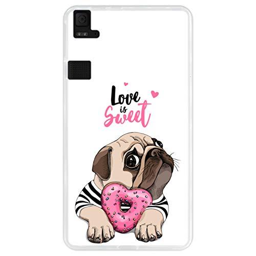 Hapdey Funda Transparente para [ Bq Aquaris E6 ] diseño [ Adorable Cachorro Pug con una rosquilla Rosada ] Carcasa Silicona Flexible TPU